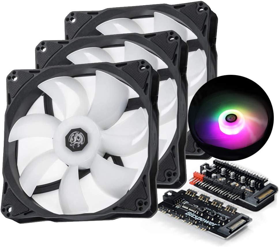 Bitspower Notos 120mm Case Fan, DRGB Computer Fan PWM PC Cooling Fan LED High Airflow Desktop Silent Cooler 1800 RPM w/PWM Fan Hub Digital RGB Controller (3 Pack)