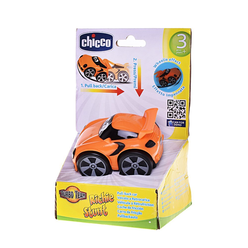Amazon.com: Chicco Richie Stunt Pull-Back Toy Car in Orange: Toys & Games