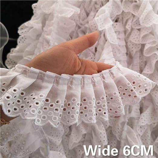 6 cm de ancho, color blanco 3D, algodón doblado, encaje bordado ...