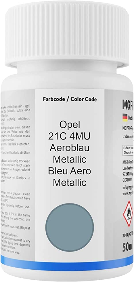 Mg Prime Autolack Lackstift Set Für Opel 21c 4mu Aeroblau Metallic Bleu Aero Metallic Basislack Klarlack Je 50ml Auto