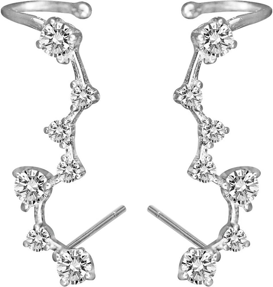 HOMEYU® 925 Sterling Silver Star Ear Pin Crawler Cuff Wrap Trepador Pendientes con 7 CZ Stones Diamante Pendientes Hipoalergénico
