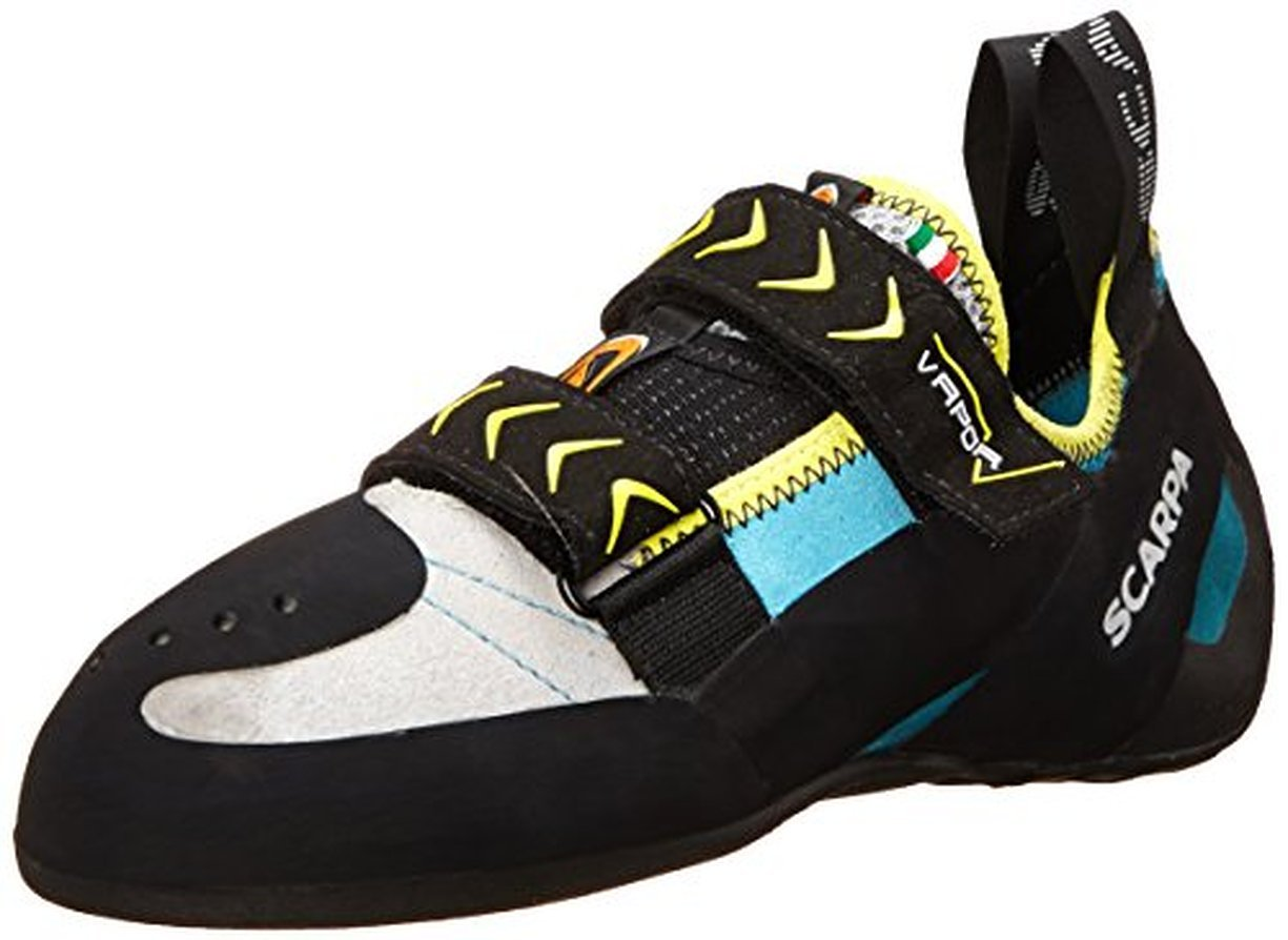 Scarpa Women's Vapor V Climbing Shoes Turquoise 37.5 & Etip Lite Gripper Glove Bundle