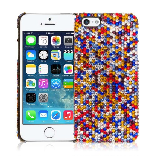EMPIRE GLITZ Slim-Fit Case Tasche Hülle for Apple iPhone 5 / 5S - Multi Colored Bling
