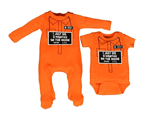 Inmate Baby Grow and Hat Set Jail Prison Top Newborn Bodysuit Gift Funny Present