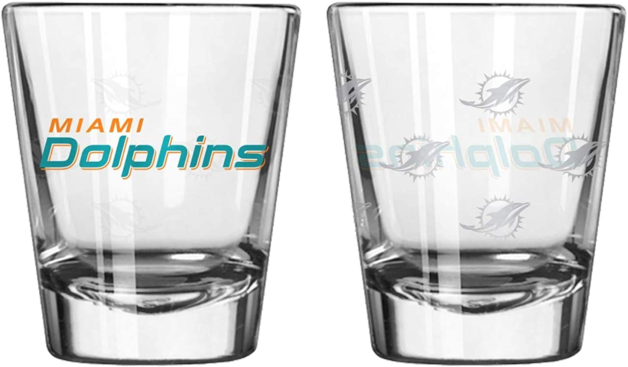 Boelter Brands NFL Miami Dolphins Shot GlassSatin Etch Style 2 Pack, Team Color, One Size