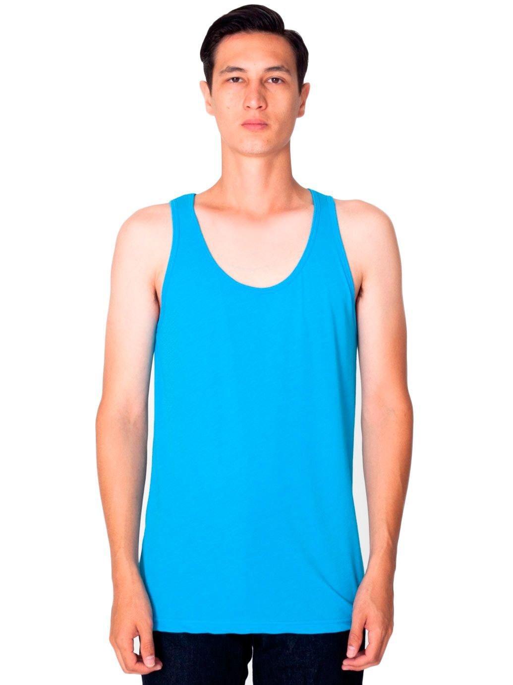 American Apparel Men 50/50 Tank Size L Neon Heather Blue
