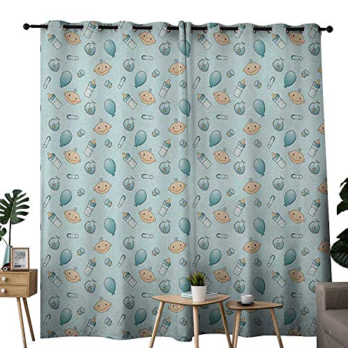 """NUOMANAN Blackout Curtains for Bedroom Baby,Infant Head with Balloons Pacifiers and Milk Bottles Newborn Inspired, Baby Blue Turquoise Tan,Darkening Grommet Window Curtain-Set of 2 52""""x72"""""""