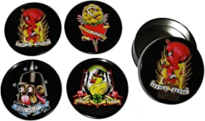 Tattoo Flash Cartoon Coasters from Sourpuss Clothing (Set of 4 in Metal Tin)