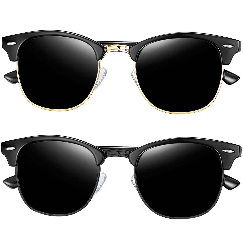 Joopin Semi Rimless Polarized Sunglasses for Men, Retro Brand 2 Pack Womens Sunglasses (Brilliant Black+All Black) by Joopin