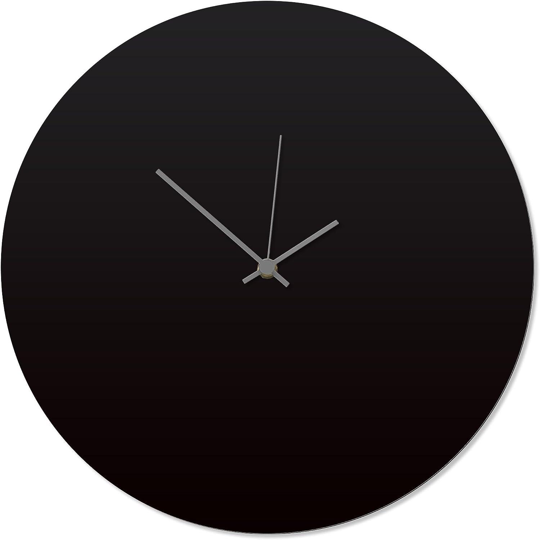 Metal Art Studio Contemporary Clock 'Blackout Grey Circle Clock' by Adam Schwoeppe - Original Black Kitchen Clock Minimalist Wall Decor on Aluminum Polymetal