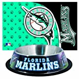 : MLB Florida Marlins Pet Bowl and Mat Combo