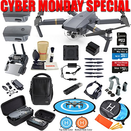 DJI Mavic Pro Drone Quadcopter Fly More Combo with 3 Batteries, 4K Professional Camera Gimbal Bundle Kit with Must Have Accessories by DJI