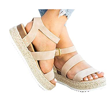 914d93edadd62 Amazon.com: Nihewoo Women's Wedge Sandals Open Toe Beach Shoes Flat ...
