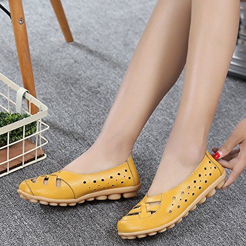 Mocassini Da Donna Traspiranti Da Donna Traspiranti Scarpe Da Passeggio Piatte Slip-on Slippers Gialle