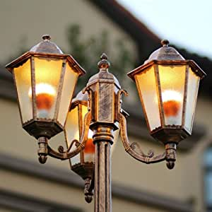 WHYA 3-Lights European Victorian Outdoor Pole Post Lantern Street Lamp Antique Aluminum Metal Bollard Pillar Light IP55 Waterproof Patio Porch Gate Column Light High Pole Landscape Lighting E27
