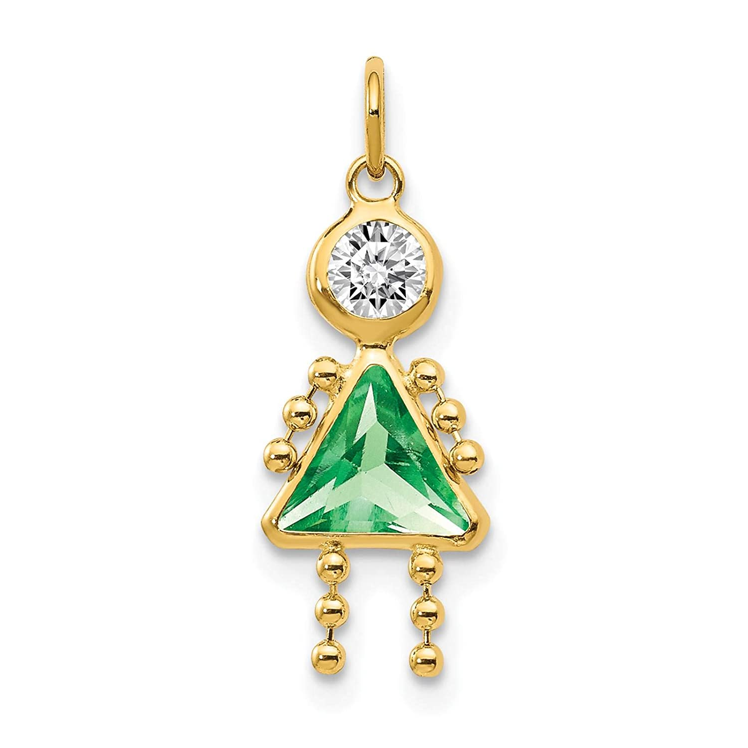 14K Yellow Gold Polished CZ August Stone Girl Charm Pendant