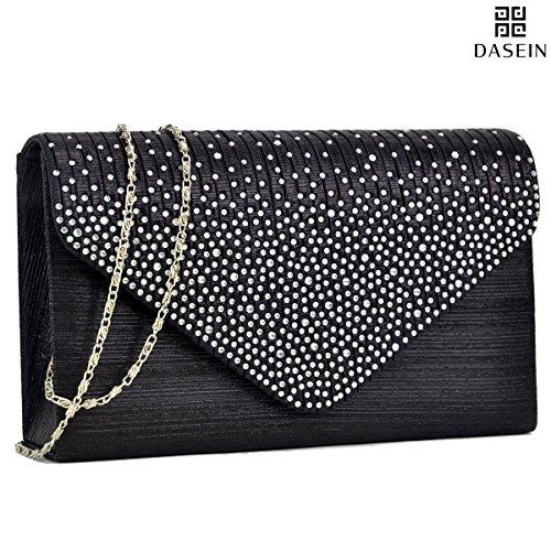 d Satin Evening Clutch Purse Bag Crossbody Handbags Party Prom Wedding Envelope ()