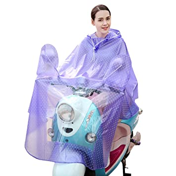 Moto impermeable transparente puntos grandes lluvia abrigo eléctrico Movilidad Scooter motocicleta con capucha impermeable y transparente