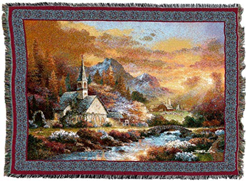 Hope Tapestry Throw - Pure Country Weavers   Morning of Hope Woven Tapestry Throw Blanket with Fringe Cotton USA 72x54