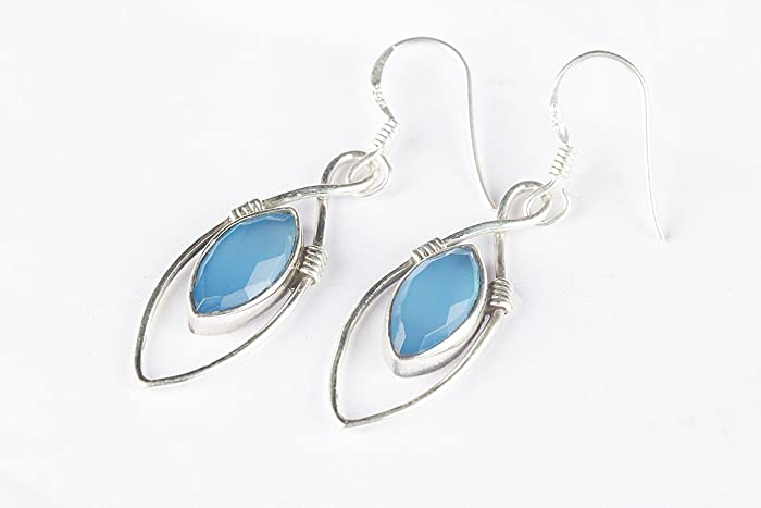 641057f9f Blue Chalcedony Earring, 925 Silver Earring, Marquise Shape Earring,  Exquisite Natural Handmade Jewelry, Long Design Earring, Blue Jewelry,  Beautiful Stone ...