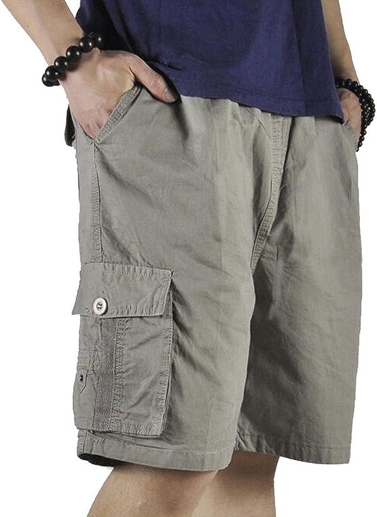 Men Cotton Twill Elastic Waist Drawstring Cargo Short with Pockets