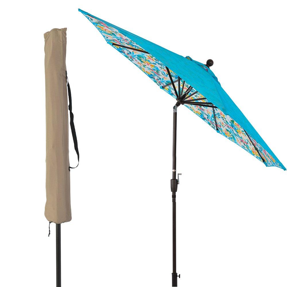 LCH Novelty Design 9 ft Outdoor Umbrella Patio Backyard Deck Table Umbrella Sturdy Pole, 8 Ribs, Crank Open, Push Button Tilting, Blue/Beach