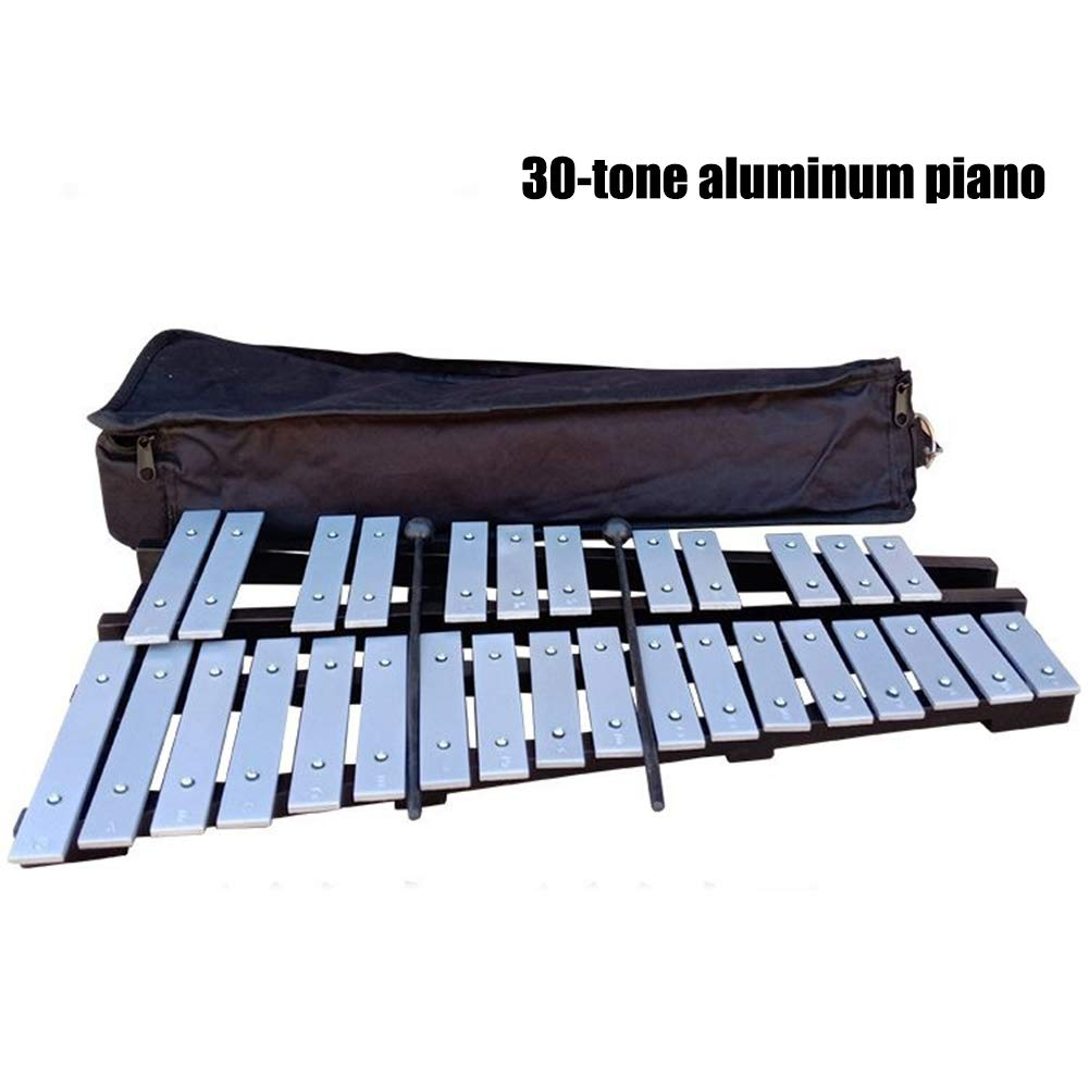 HBIAO Foldable Glockenspiel 30 Notes Aluminum Bars Children Educational Percussion Musical Instrument with Carrying Bag 4 Mallets Black by HBIAO