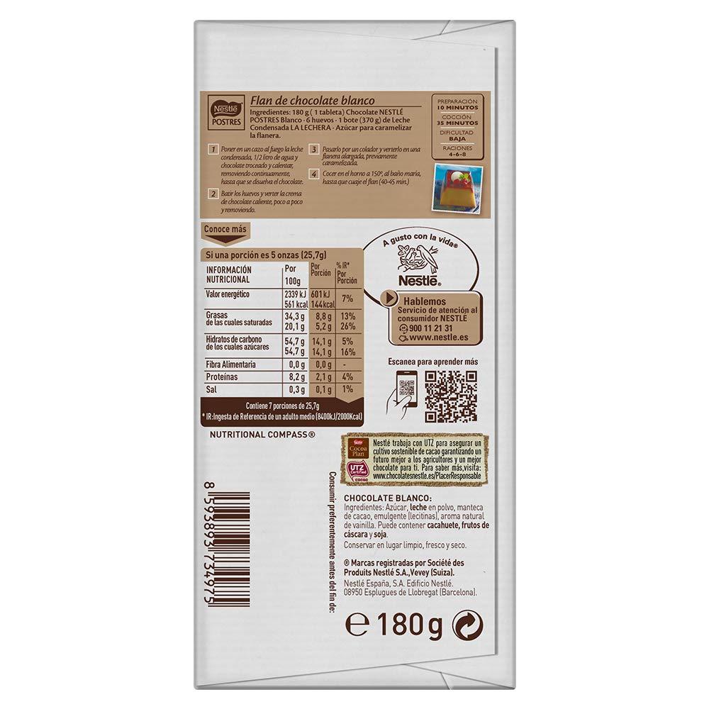 Nestlé - Postres - Chocolate Blanco para Repostería - 180 g: Amazon.es: Alimentación y bebidas