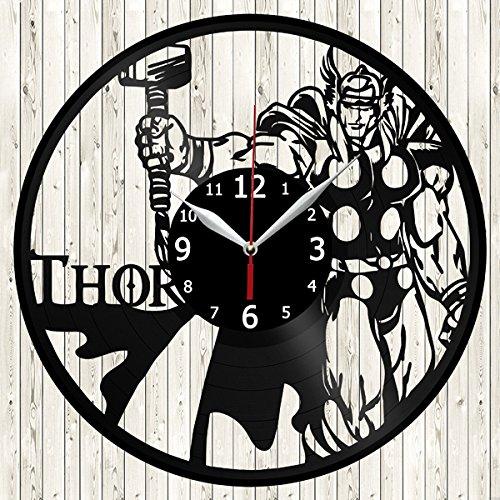 - Thor Vinyl Record Wall Clock Decor Handmade Unique Original Gift