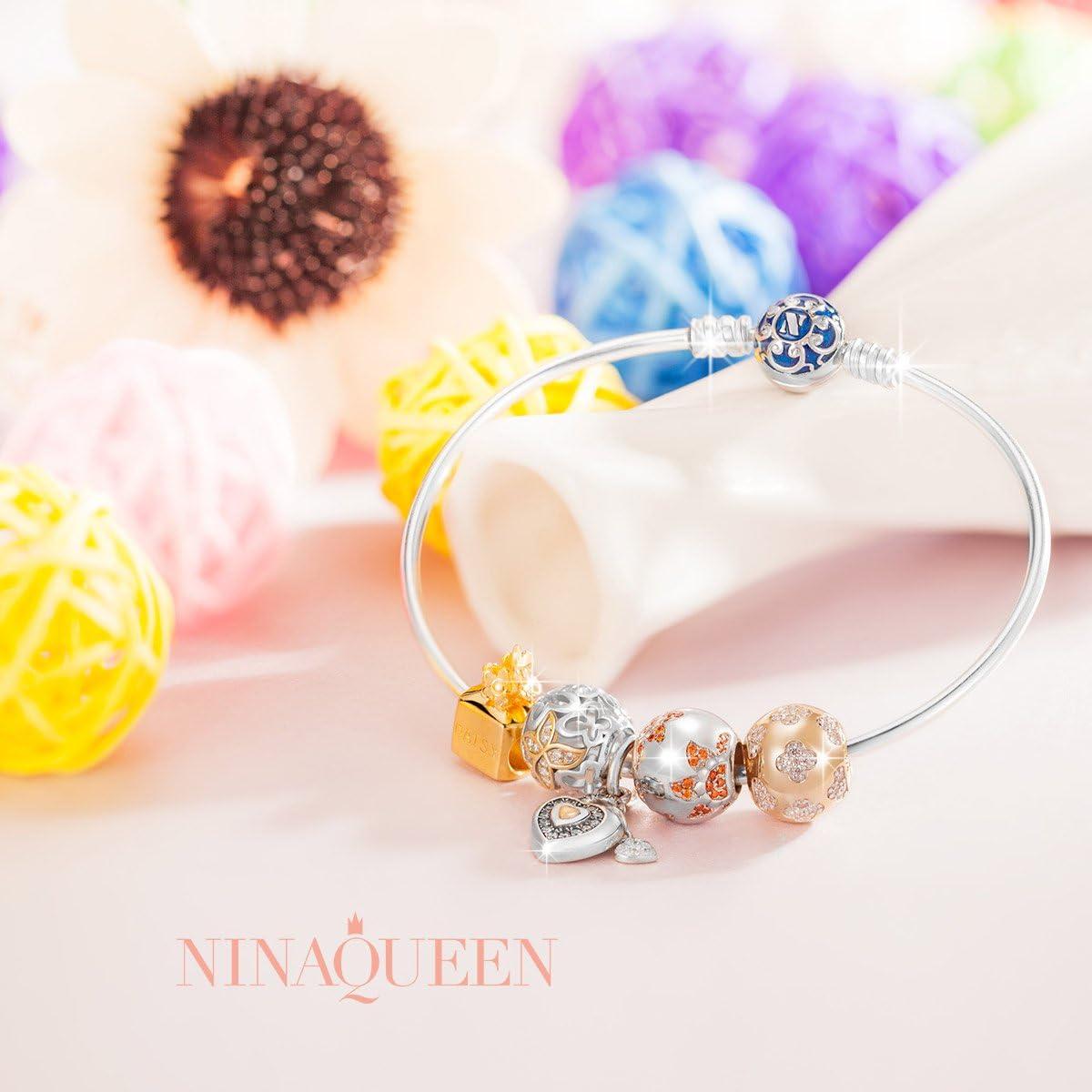 NINAQUEEN/® Charm//Tournesol//Argent 925 avec Coffret Cadeau Le Choix pour la f/ête des m/ères Cadeau pour Maman Zircone Bijoux de Maman