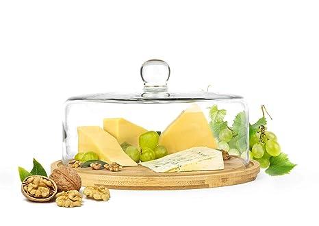 Campana de cristal (con tabla de cortar tarta 28 cm Quesera ...
