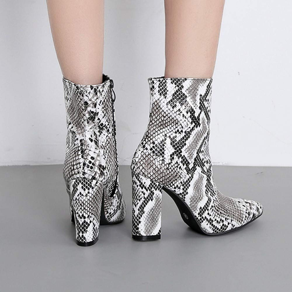 Limsea Women High Shoes Boots Snakeskin Leopard Print Party Toe Zip Thick Pointed