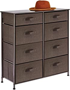 mDesign Vertical Furniture Storage Tower - Sturdy Steel Frame, Easy Pull Fabric Bins - Organizer Unit for Bedroom, Hallway, Entryway, Closets - 8 Drawers - Espresso Brown