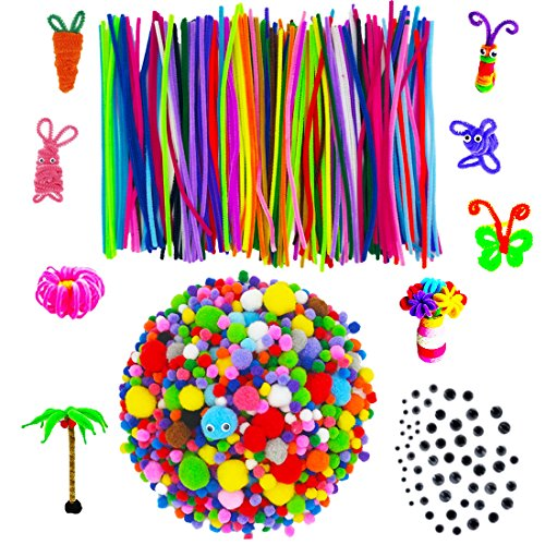 1460 Pieces Pom Poms Pipe Cleaners Set, Including 1300 Pcs Pompoms, 100 Pcs 20 Colors Chenille Stems and 60 Pcs 4 Size Wiggle Googly Eyes for Craft DIY Art Supplies