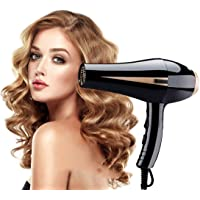 Hair Dryer,Professional Hair Dryer 1875W Powerful Fast Blow Dryer Quick Drying with 2 Concentrator Cool Shot Button 2 Speed 3 Heat Settings Lightweight for Travel (Black)