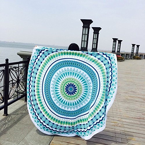 Led Zeppelin Beach Towel (FLY SPRAY Indian Mandala Beach Round Throw Tapestry 60inches Polygon Print Hippy Gypsy Tablecloth Colorful Turban Blanket Shawl Psychedelic Vacation Mat Blue)