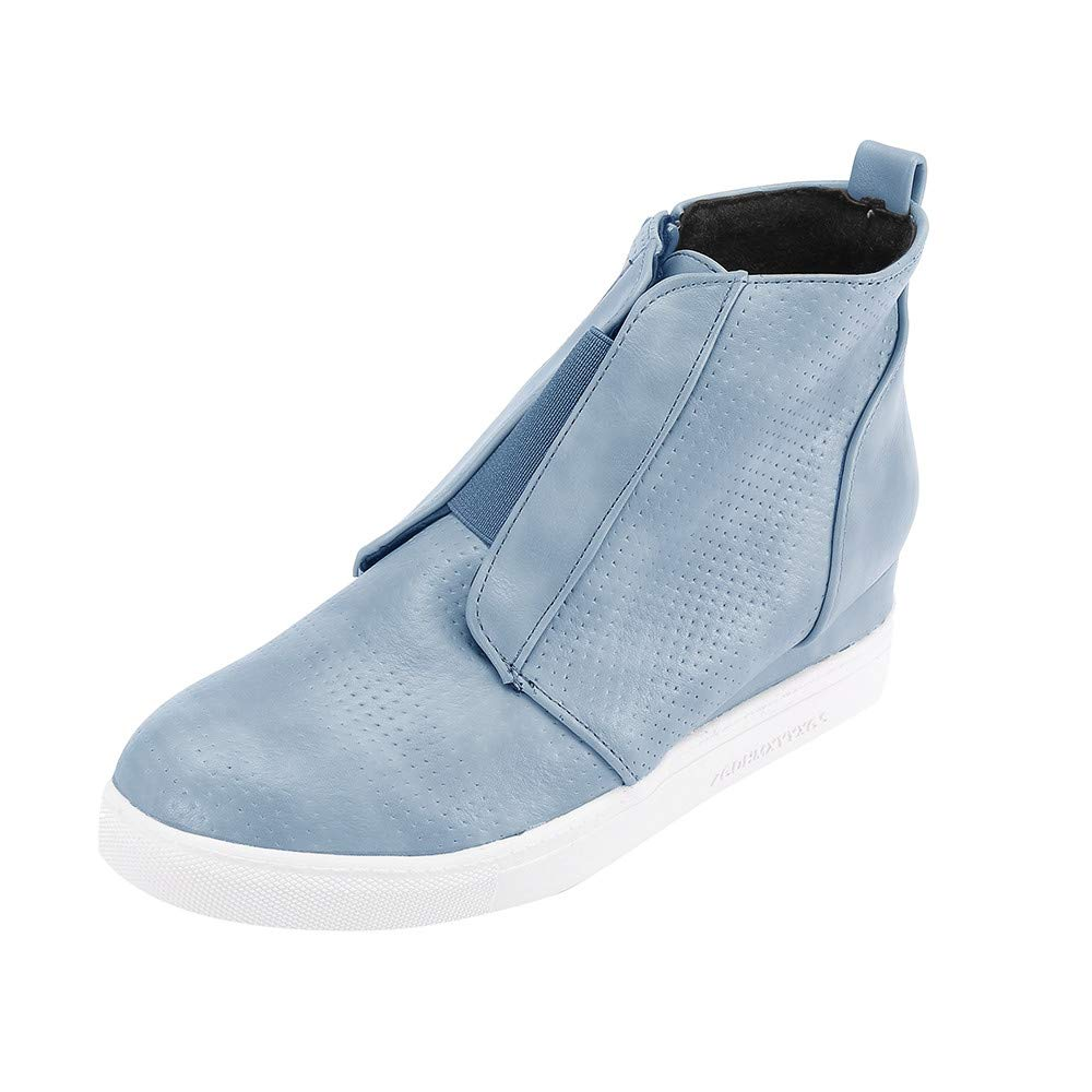 Sneakers Running Donna ASHOP Cerniera Di Colore Misto Casual Casual High-Top Autunnale E Invernale All'Interno Dello Stivale Maggiorato Stivali Donna ElegantiBlu