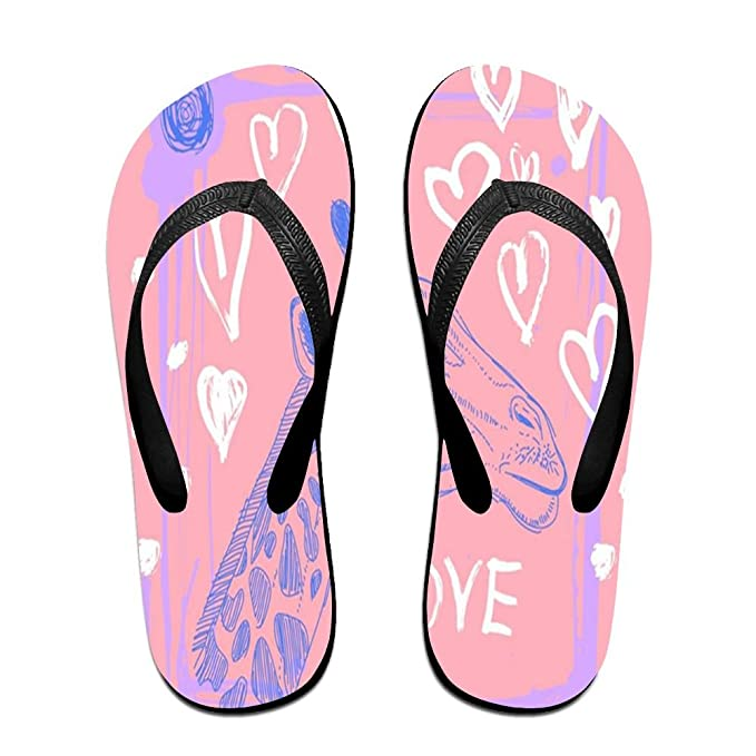 Unisex Non-slip Flip Flops Three Giraffe Cool Beach Slippers Sandal