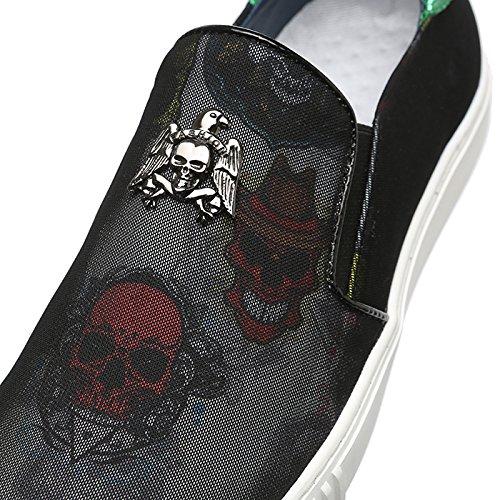 Britse Stijl Schedel Schoenen Punk Schoenen Mode Klinknagel Sneakers Voor Mannen Zwart Zwart En Groen