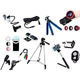 Kit Youtuber 10x1 - Microfone Lapela + LED Ring + Tripé 1,30m + Mini Tripé Octopus + Extensor P2 + Suporte Articulado + Kit L