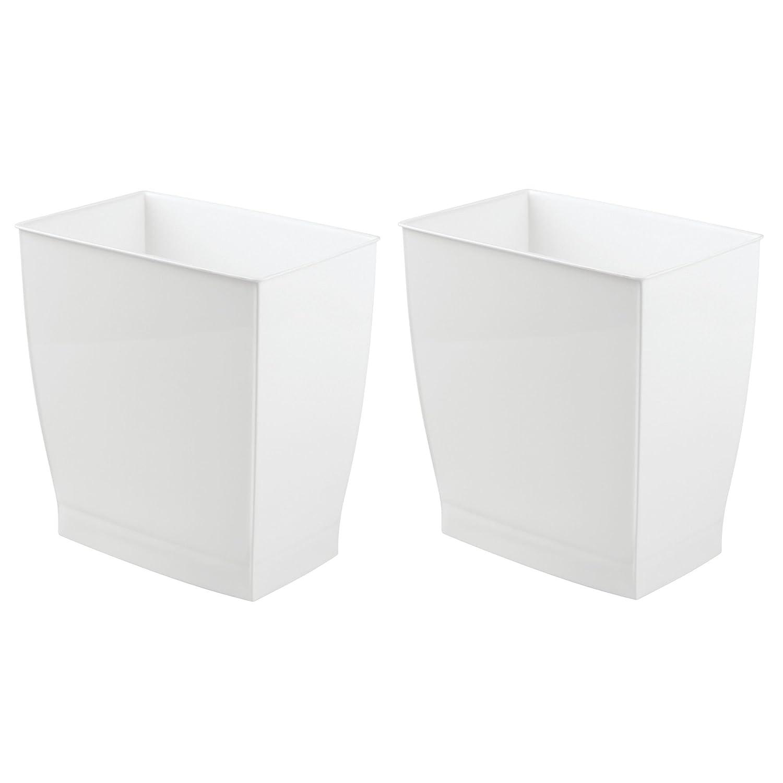 mDesign Set da 2 bidoni spazzatura – Ideale come cestino spazzatura o pattumiera raccolta differenziata – Secchio spazzatura moderno per cucina, bagno o ufficio – Bianco bagno o ufficio - Bianco MetroDecor