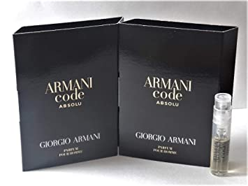 01038b52dfcbad Amazon.com : 2 Giorgio Armani CODE ABSOLU Pour Homme Eau De Parfum Spray  Sample Travel Vials .04 oz / 1.2 ml Each Mens NEWEST (LOT OF 2) : Beauty