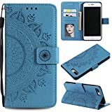 PU Leather Flip Case for iPhone 8 Plus/iPhone 7 Plus,Shinyzone Elegant Embossed Mandala Pattern Wallet Case with Card Slots Magnetic Closure Silicone Bumper Shockproof Cover,Blue