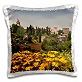 3D Rose Spain Granada the Genera Life Gardens Alhambra Grounds Pillow Case, 16'' x 16''