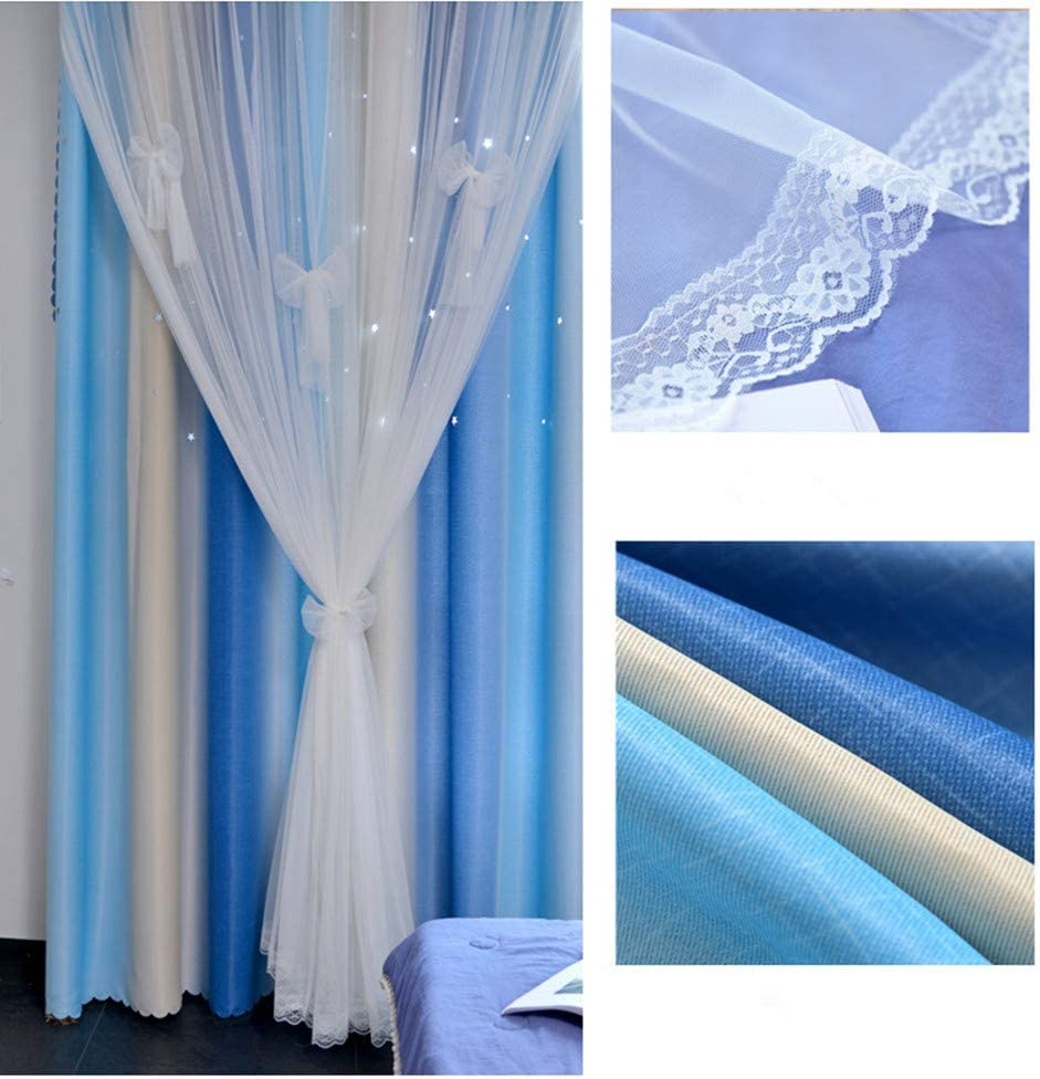 Blue Beige, W52 X 96 Yancorp Room Darkening Light Blocking Pink Curtains White Sheer Lace Detachable Bow Ties Kids Room Decor Ombre Drapes Star Double Layer Window Panels Bedroom Living Room