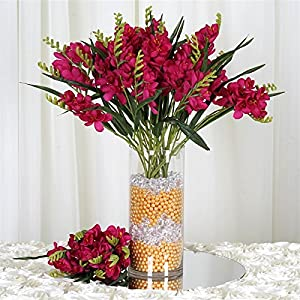 54 Artificial Freesia Flower Bushes Wedding Vase Centerpiece Decor – Fushia