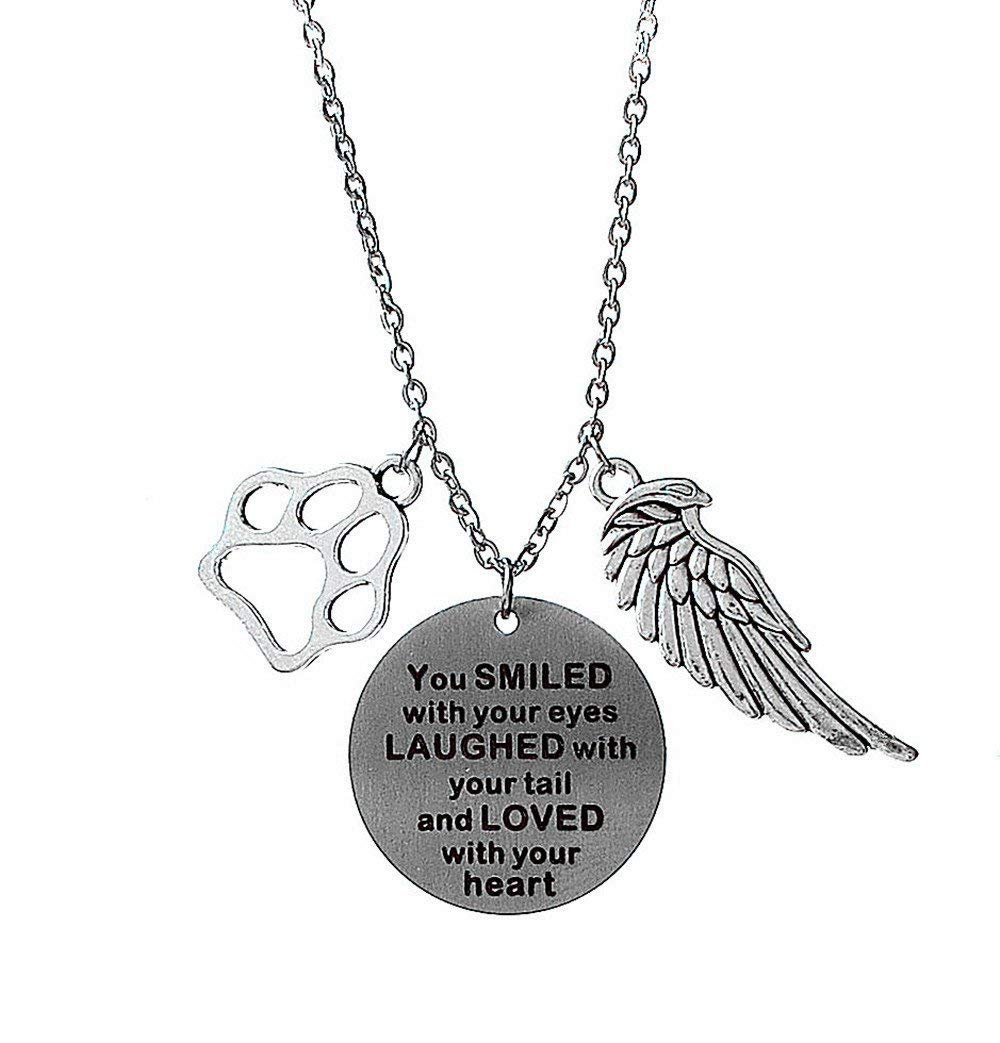 Pet Memorial Necklace You Smiled With Your eyes,Laughed with Your Tail,and Loved with Your Heart Loss of Pet Memory Gift Dog Cat Loss Pendent Necklace