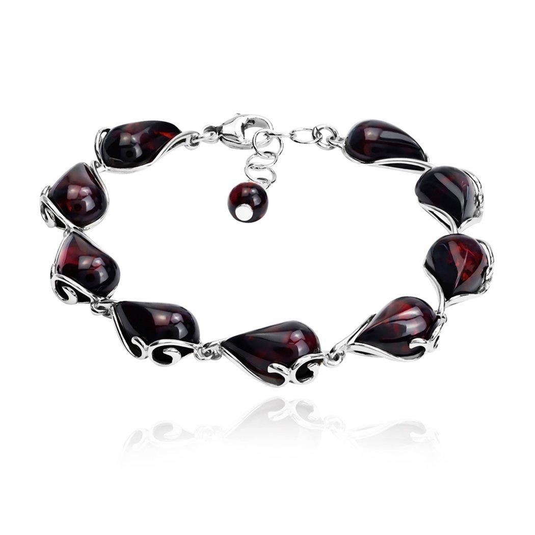 Cherry Amber Sterling Silver Bracelet 21cm Ian and Valeri Co