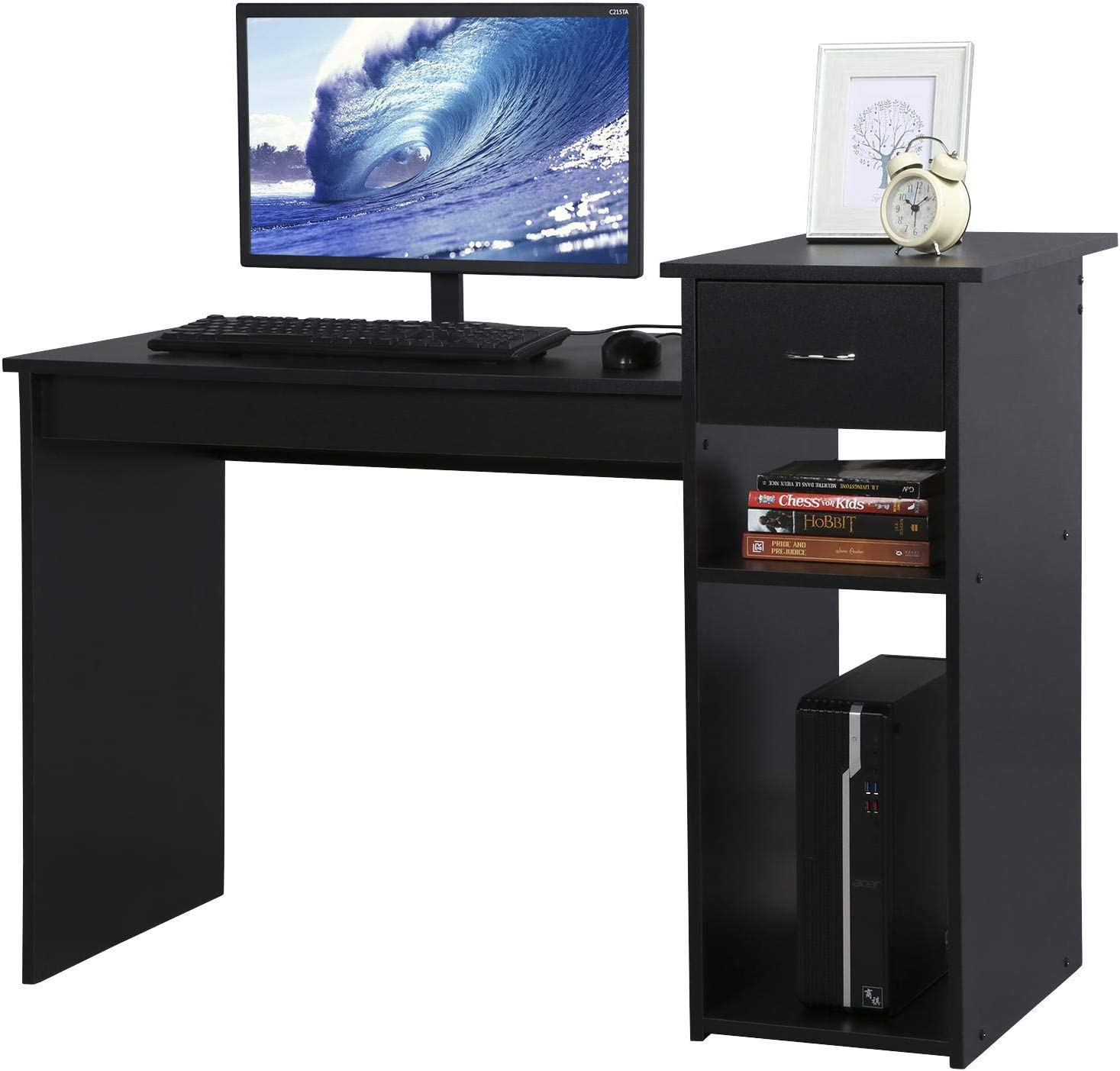 Topeakmart Home Office Computer Desk, Wooden Study Writing Table with Drawer and Storage Shelves Black