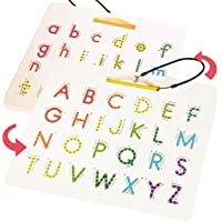 CozyBomB Double Sided Magnetic Letter Board - 2 in 1 Alphabet Magnets Tracing Board for Toddlers ABC Letters Uppercase…